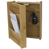 Wall Mount Letter Rack Holder Mail Organizer Wood Storage Home Key Box Bamboo US