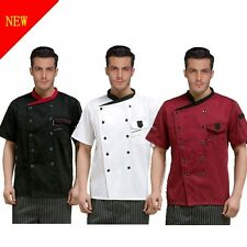 Chef Jacket Coat Chef Uniform Mens Kitchen Short Sleeve Cooker Work Restaurant