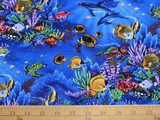 New Hawaiian Fish Reef Ocean Sea Coral Blue Print Fabric 1 Yard