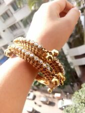 Indian CZ Jewelry Gold Plated Bangle Bracelet Traditional Set Bollywood Bangles