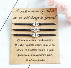 Set of 3 Matching Friendship Wish Bracelets Distance Keepsake Moving Away Gift