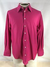 Thomas Pink Mens Magenta Long Sleeve Button Down Shirt Classic Fit Size Small