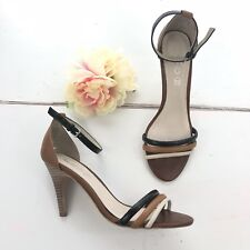 Aldo Leather Ankle Strap Pump Heel Brown White Black Womens size 7.5