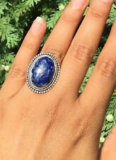 Oval Cut 925 Sterling Silver Ladies Lapis Lazuli Big Ring Gemstone Adjustable