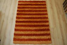 Tapis poil long tendance-shaggy 607 cuivre rayé 120x170cm Orange