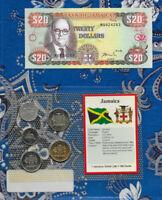 Jamaica 1999 20 Dollars UNC P72h & $1, 25, 10, 5 Cents 1993 1 Cent 1991 UNC