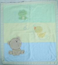 Carter's Green Frog Yellow Duck Blue Bear Bubbles Baby Blanket Security Lovey
