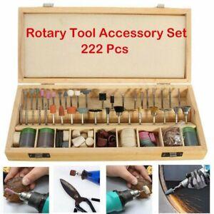 222 Piece Dremel Rotary Tool Accessories Kit Grinding Polishing Shank Craft Bits