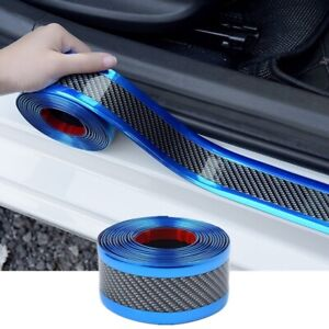 Car Carbon Fiber Blue Edge Guard 3CMx1M Strip Door Sill Protector Accessories