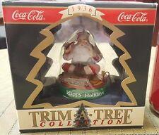 NIB 1990 COCA COLA Trim A Tree Collection Christmas Ornament SANTA w TRAIN