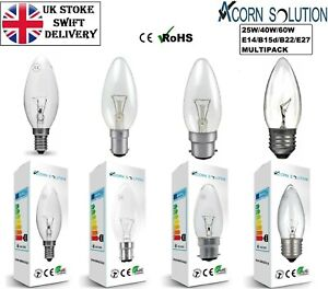 1/2/4/6/10PACK C35 CLEARCANDLE LIGHT INCANDENSENT 25W 40W 60W BC SBC ES SES BULB