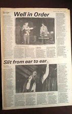 NEW ORDER New York concert review 1981 UK ARTICLE / clipping