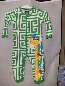 Mud Pie Baby Boy Romper Sleeper Size 6/9M Long Sleeves Green/White Print
