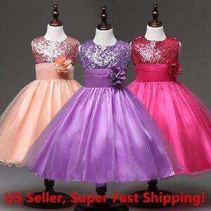 NWT Wedding Sequined Flower Girls Dress Tutu Formal Girl's Evening Dress