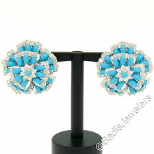 18K White Gold 8.08ct Turquoise & Brilliant Diamond Large Cluster Flower Earring