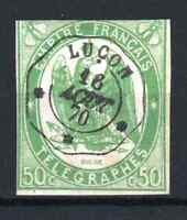 "FRANCE TELEGRAPH STAMP YVERT 2 "" 50c GREEN IMPERF 1868 "" USED F MUST SEE P927"