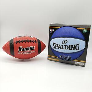 "Youth Size  Spalding 27.5"" Varsity Basketball - Blue / Franklin 100 Football Set"