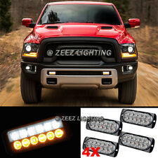 4X White&Amber 12 LED Emergency Hazard Flash Strobe Warning Beacon Light Bar C91