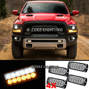 4X White&Amber 12 LED Emergency Hazard Flash Strobe Warning Beacon Light Bar C92
