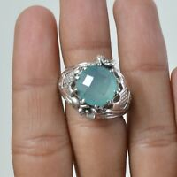 Aqua Chalcedony Handmade Jewelry 925 Solid Sterling Silver Solitaire Ring Size 9