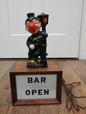 New ListingPrice Import Japan Vintage Bar Open Light Sign Clown Leaning On Light Pole Rare
