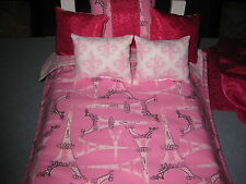 7 Piece American Girl Inspired Paris Pink Grace Bedding 18 Inch doll Pillow