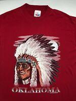 Vintage Mens XL 1990 90s Indian Native American Oklahoma Red Souvenir T-Shirt