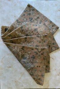 "Nicole Miller Placemats Set of 4 18x12"", Beige/Green Heavy Weave Cotton Blend"
