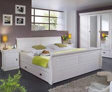 ROMAN Massivholzbett Bett mit Bettkasten Doppelbett Kiefer weiß weiss 180x200