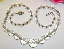 Vintage Retro Faceted Crystal Bead Necklace Ascending Chain Old Jewelry