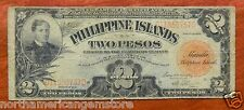 Extremely Rare 1929 2 Pesos Red Seal Philippines Note C11050757C F Victory Note