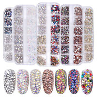 1440pcs Flat Back Nail Art Rhinestones Glitters Diamonds 3D Tips Manicure Decor
