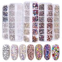 1440pcs Flat Back Nail Art Rhinestones Glitters Diamonds 3D Tips Manicure Decor
