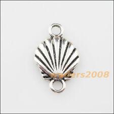 8 New Charms Tibetan Silver Sea Shell Pendants DIY Connectors 14x23mm