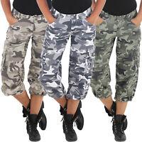 Damen Camouflage Cargo Shorts Capri Hot Pants Bermuda Kurze Army Armee 3/4 Hose
