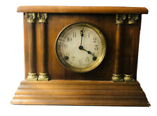 Antique Sessions Wood Mantle Clock Four Column 4 Posts - Works