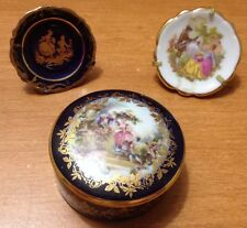 Set of 3 Limoges Miniature Plate and Trinket Box.