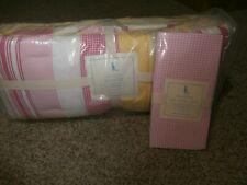 NIP Pottery Barn Kids Kasey Crib Bumper Pads & Pink Gingham Crib Sheet Fitted