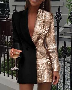 Fashion Women Sequin Patchwork Blazer Dress Colorblock Sequin Long Sleeve Dress