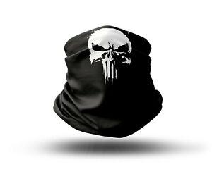 Washable Fabric Face Cover Neck Gaiter Print Punisher Skull Design EU Made