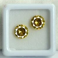 AGSL Certified Yellow Sapphire Loose Gemstone Pair 5 Ct Natural Round Cut 2 Pcs