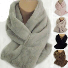 Luxury Winter Faux Fur Scarf Neck Warmer Wrap Collar Shawl Stole - UK Seller