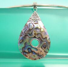 "2 1/4"" Teardrop Abalone Shell Handmade 925 Bali Design Sterling Silver Pendant"
