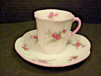 Shelley Bridal Rose Fine Bone China Demi Tasse Cup & Saucer Very Nice