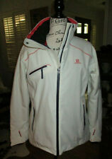 SALOMON ClimaPro Storm Recco White Zip Front Insulated Ski Jacket Women's Sz L