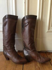 Brown leather boots women 8