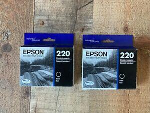 EPSON 220 BLACK ORIGINAL INK 2 PACK CARTRIDGE GENUINE BRAND NEW EXP 10/22