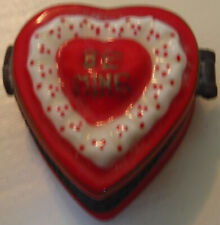 "Hinged Heart Shaped Valentine Candy Container With ""Candy� – Inscribed ""Be Mine�"