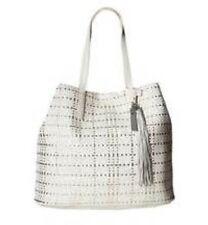 VINCE CAMUTO Oren Snow White Silver WOVEN OPEN TOTE $198 Leather Purse Handbag
