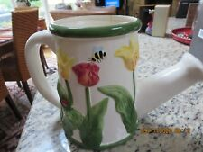 Ceramic Watering Can-Dimensional Flowers-Ladybug Tulip Collection-#Rlp6